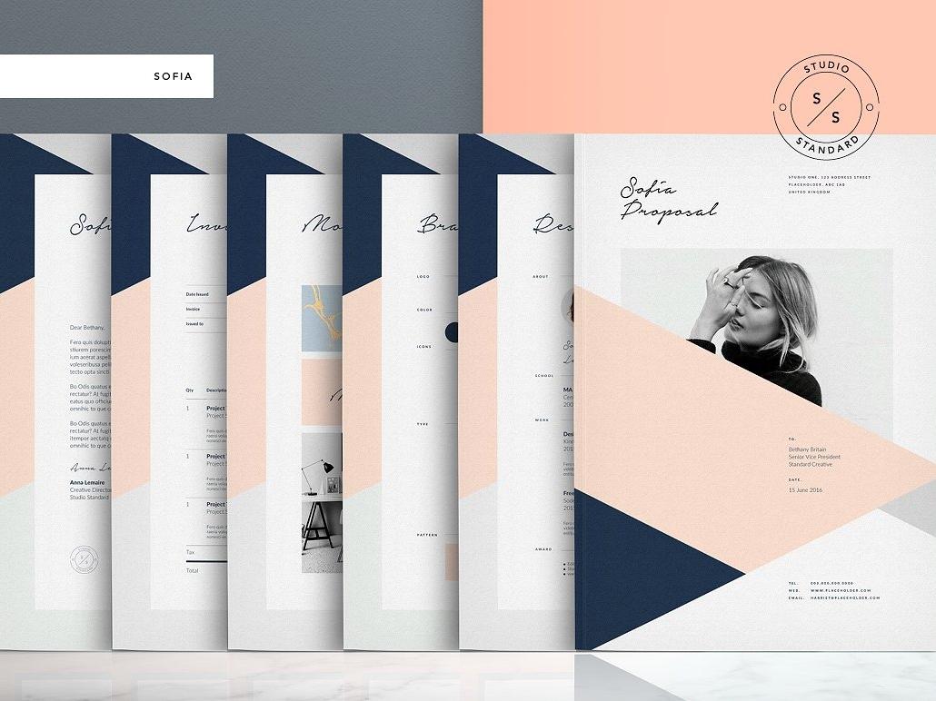 Sofia Pitch Pack indesign elegant modern portfolio magazine branding brochure invoice estimate resume template feminine fashion proposal template proposal brief sofia pitch deck pitch sofia pitch pack