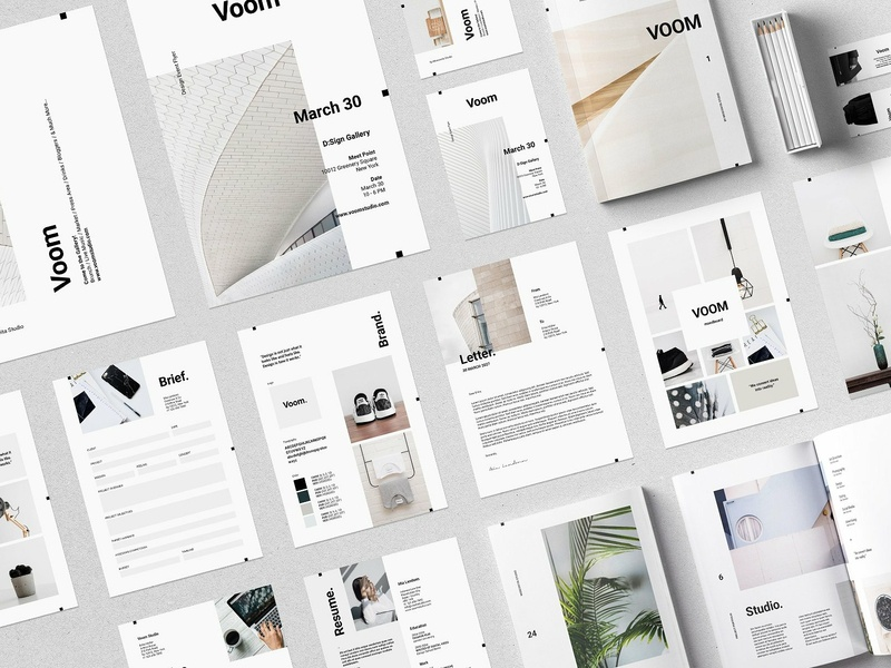Voom Collection portfolio magazine brochure template pack resume proposal letter invoice elegant design creative covering voom collection cover clean brief branding voom collection