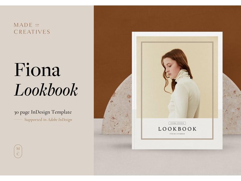 Fiona Fashion Lookbook clothing feminine catalog fashion studio proposal design lookbook editorial indesign clean catalogue elegant business modern portfolio magazine branding brochure template