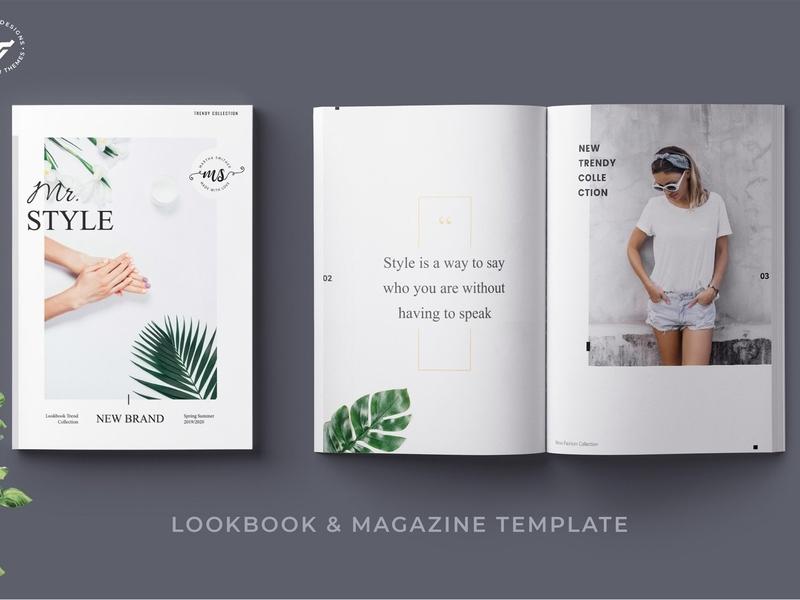 Fashion Magazine Lookbook clothing feminine catalog studio proposal design editorial indesign clean catalogue elegant business modern portfolio branding brochure template lookbook magazine fashion