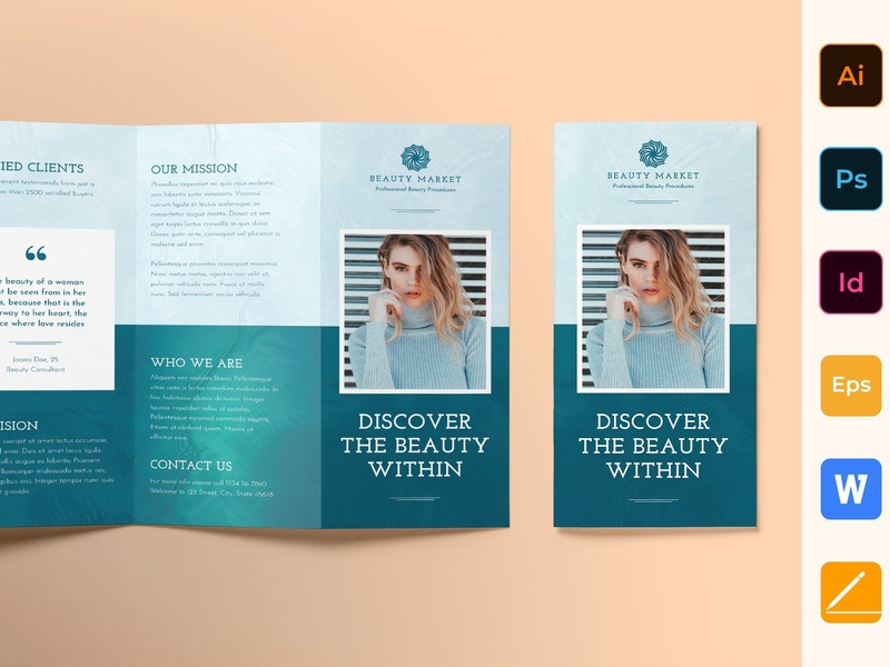 Beauty Market Brochure Trifold beauty catalog fashion studio proposal design lookbook editorial indesign clean catalogue elegant business modern portfolio magazine branding brochure template trifold