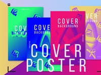 4 abstract fluid covers 3d posters