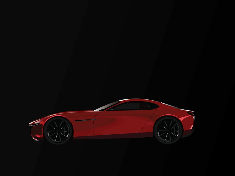 Mazda Rx vector flat design illustration