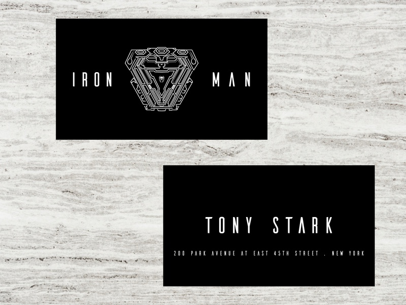 Iron Man X visiting card branding minimal flat typography design