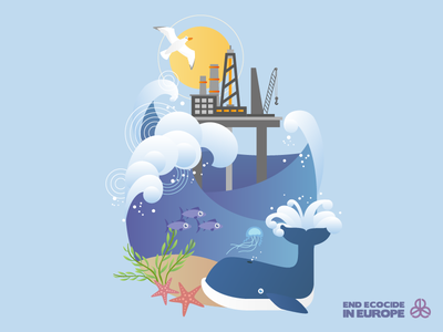 End Ecocide Flyer Illustration illustration oil-rig sunset waves beach starfish whale animals ocean