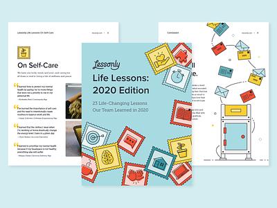 Lessonly Life Lessons 2020 Edition ebook illustration branding design lessonly