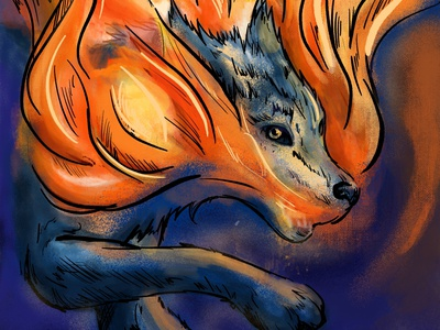 Wolf into fire handcraft artwork art fire wolf brushes color illustration texture experimental colors poster design