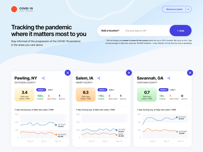 COVID Tracker stats ui stats search result homepage platform design platform tracker covid19 covid website ui ux colors gradient branding typography design