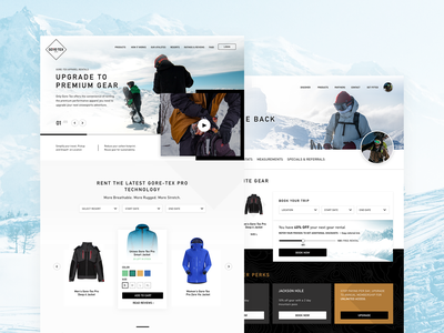 Gore Tex landing page design goretex ecommerce homepage typography website color colors landingpage ui design
