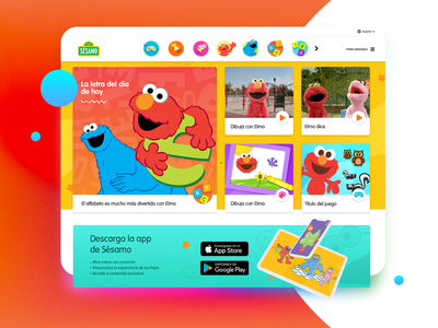 Sesame Street Latam home website design plaza sesamo sesame sesame street texture color ux ui illustration gradient colors typography design