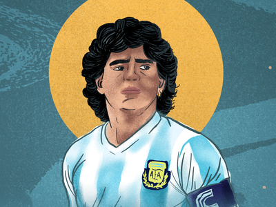 Diego Maradona artist art procreate colors argentina soccer maradona diego texture illustration experimental color gradient poster