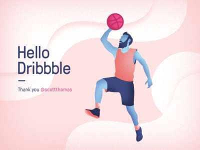 Hello Dribbble first shot debut player ball coloring illustration character hello
