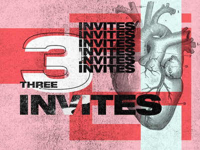3 Dribbble Invites color experimental invitation invite draft design colors typography poster 3 invites invite giveaway invites