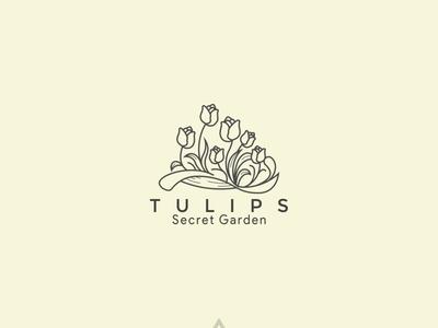 Tulips framing simple logo cover logo socialmediapack vector logodesign branding facebook cover classic draw social media cover design lineart illustration logo
