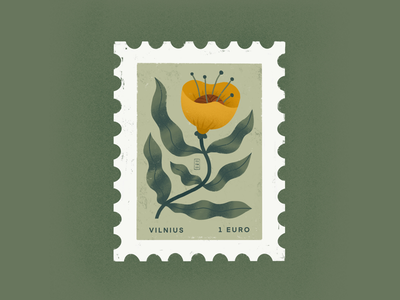 VILNIUS STAMP collection branding logo font delicate flowers flora plants green earth digital love orange flower design plant beautiful minimal illustration simple