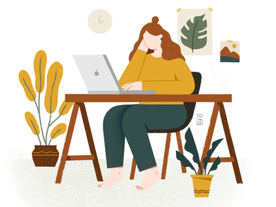 HOMEOFFICE stayhome virus covid19 computer homeoffice delicate flowers plants green digital portrait woman orange flower design plant beautiful minimal illustration simple