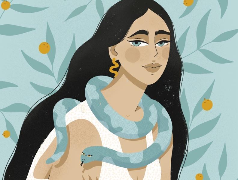 SNAKE LADY lady snake digital blue portrait orange woman flower design plant beautiful minimal illustration simple