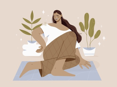 Saturday Meditation flat design flat illustration flat 2d procreate relaxing excercise home digital woman flower design minimal beautiful illustration simple calm breathe selflove meditation