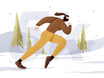 Sunday 5k run sketch excercise nature nature art forest snowflake nike snow running portrait design minimal beautiful illustration simple
