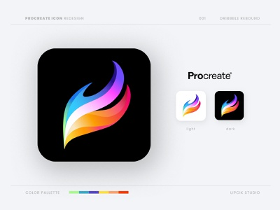 ProCreate App Icon getcreativewithprocreate app draw paint branding vector illustration design ux ui web color ipad apple playoffs rebound procreate logo icon challenge