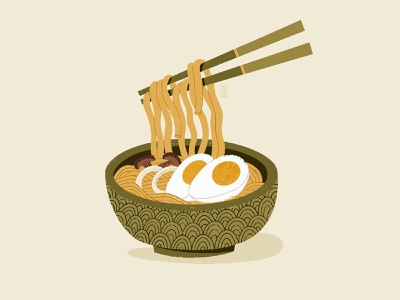 Ramen 2d ipad digital minimal design beautiful simple illustration delicious soup noodles ramen food challenge procreate