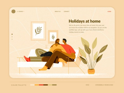 Holidays at Home website design house homepage rebound website digital ui design simple illustration living room furry cat pet family plants couch home holidayseason holidays