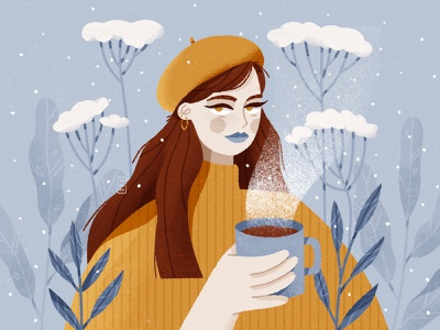 DTIYS 2d challenge portrait beautiful woman illustration cold plants painting digital snow character design character yellow coffee drawing tea winter dtiys drawthisinyourstyle