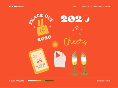 New Years GIFS 2d animation celebration peace phone newyears champagne 2021 2020 giphy sticker giphy gifs procreate digital minimal design beautiful simple illustration
