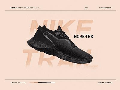 NIKE Pegasus Trail x Gore-Tex icon art minimal design simple shoe design product design texture digital illustration pegasus goretex trail running trail nike running nike shoes sneaker art sneaker illustration sneakers nike