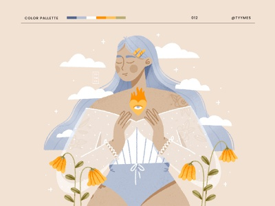 Your inner fire plant flowers clouds fire selflove girl texture flat 2d people character design design procreate challenge dtiys character digital beautiful minimal illustration