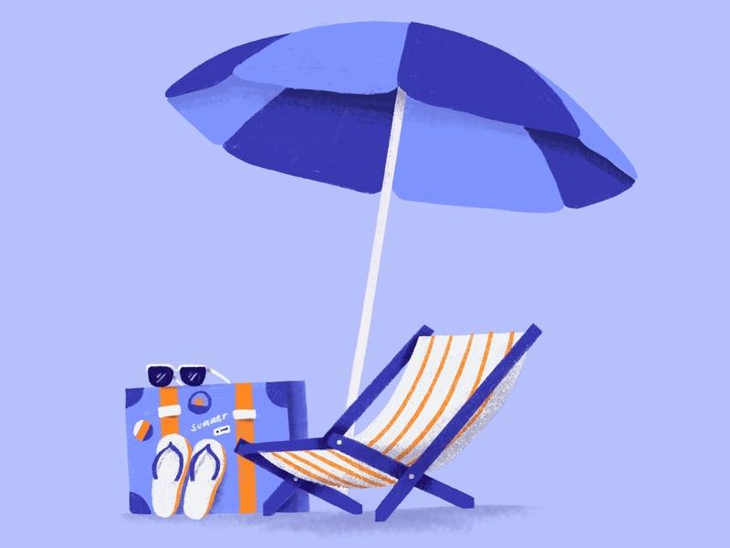 Summer relax beach flipflops summertime summer illustration simple minimal