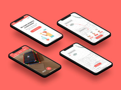 Bindle - Featured Screens onboarding onboard measurement camera vr ar augmented reality shipping maps iphone x branding ux ui app