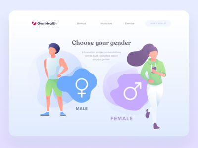 Gender selection interface with illustrations