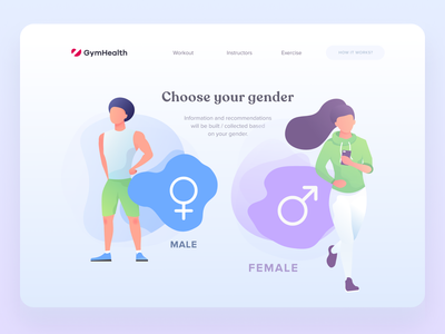 Gender selection interface with illustrations workout gender female male illustration art illustrations illustraion uiux ux ui desctop selector fitness sports design sports select choose sport gym interface
