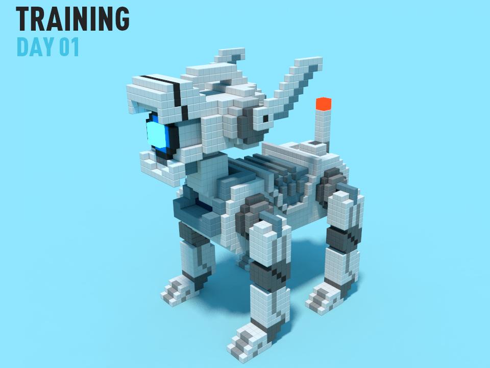 Mechanical dog pixel ui