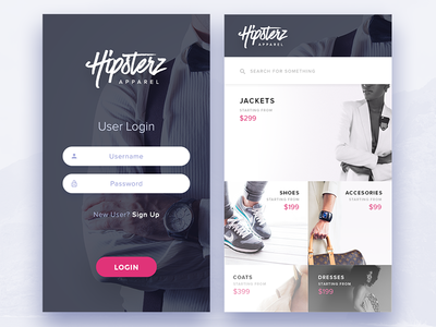 Clothing Store - Login and Store Screens Experiment user interface user experience ux soft fashion apparel clothing store app ui modern clean