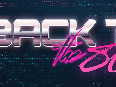 Back to the 80's photoshop text electric metal pink freebie style free psd