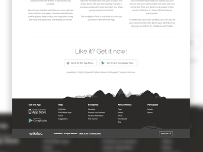 Wikiloc footer detail footer clean detail black white web web design