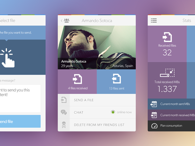 Teleport UI app mobile flat clean white blue purple ux app design interface design
