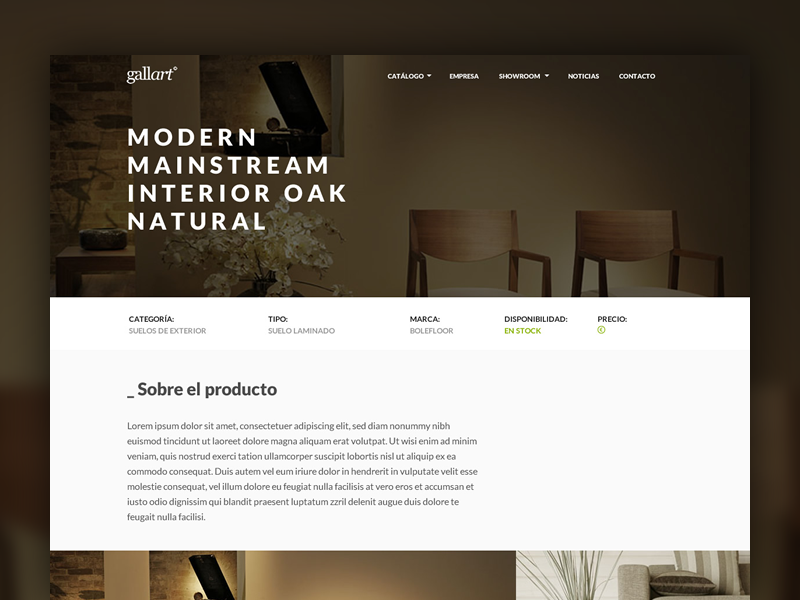 Gallart Product Detail web clean white brown product page layout website product detail lato
