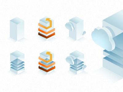 Hosting icons 2 icon fireworks isometric hosting cloud