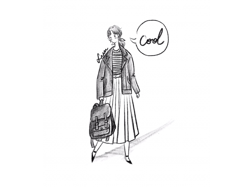 DAY13-a cool day🖤a cool girl scarve striped shirt bag skirt illustration girl
