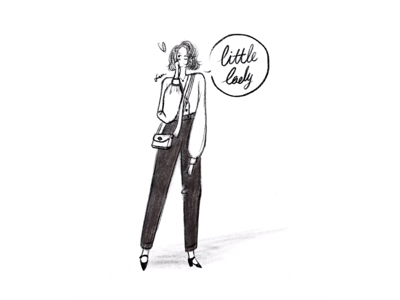 DAY32-a little lady👄👠 high-heeled shoes bags bob pants shirt illustration girl