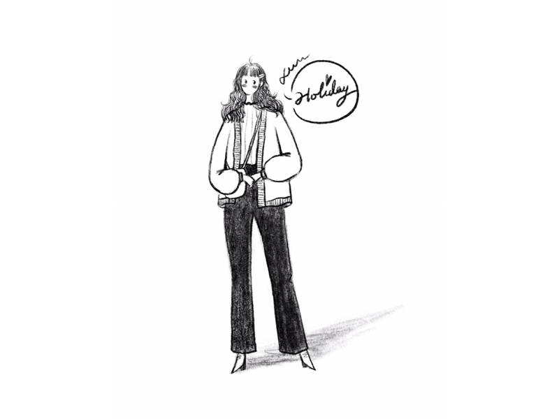 DAY36-The Holiday is coming bobby pin pants long curly hair sweater cardigan illustration girl
