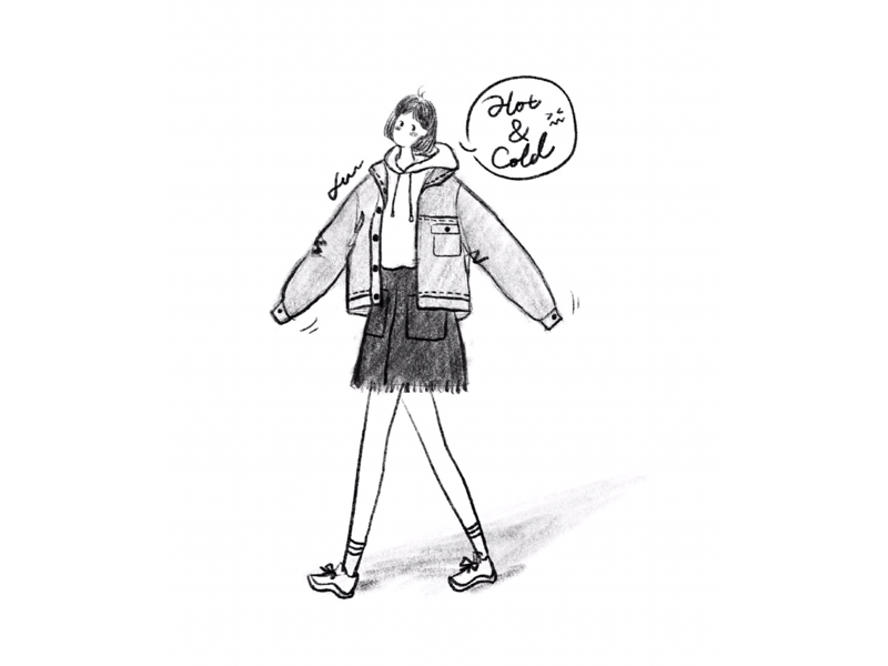 DAY42-Changeable Weather☀️☁️ sneaker jacket hoodie denim skirt weather bob illustration girl
