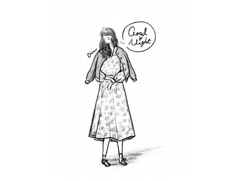 DAY43-Good Night🌙✨ good night long curly hair coat floral dress illustration girl