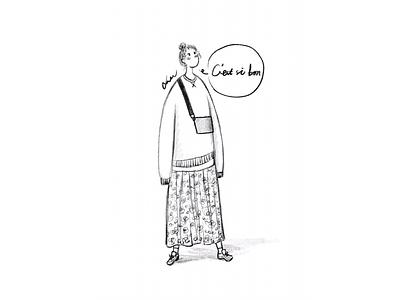 DAY53-C'est si bon🍬 pullover hoody chignon sneaker bag floral skirt illustration girl