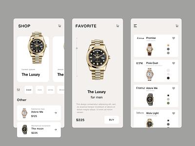 Watch Shop-App character layout app design add to cart concept fashion ecommerce colour ux ui design logo clean app