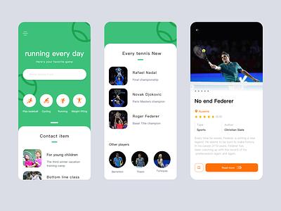 A  sport app tennis ball color orange blue ui clean app tennis player tennis ui  ux design