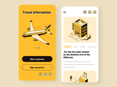 Travel app design yellow logo black  white traveling visit black yellow yello app clean ui  ux design